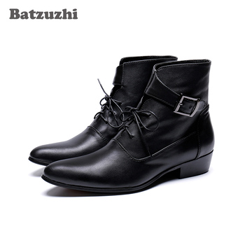 Batzuzhi Handsome Men Boots zapatos de hombre Black Genuine Leather Ankle Short Boots Lace-up Buckles Fashion Boots for Men!
