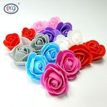 HL 100pcs/lot 3.5cm Foam Rose Artificial Flower Head Wedding Festival Decoration Flowers Appliques DIY Scrapbooking