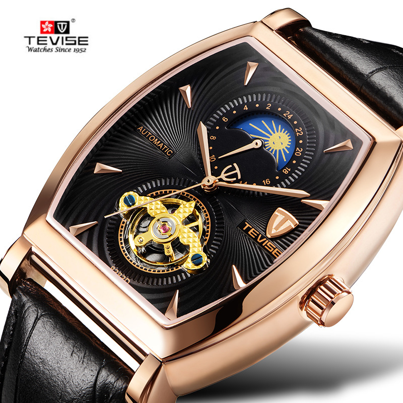 TEVISE Skeleton Automatic Watch Men Tonneau Flying Tourbillon Mechanical Watches Mens Self Winding leather Relojes Hombre cjiaba gk8001 sw pu leather band skeleton self winding mechanical wrist watch for men black