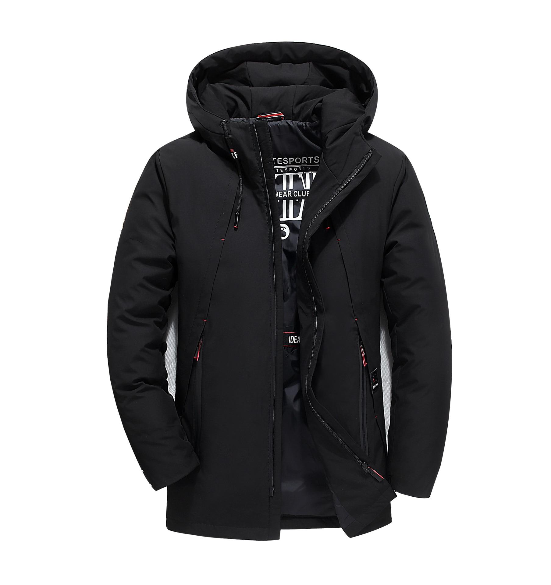 Loldeal luxe hommes veste d'hiver gris duvet de canard coupe libre duvet d'oie à capuche épais chaud imperméable manteau