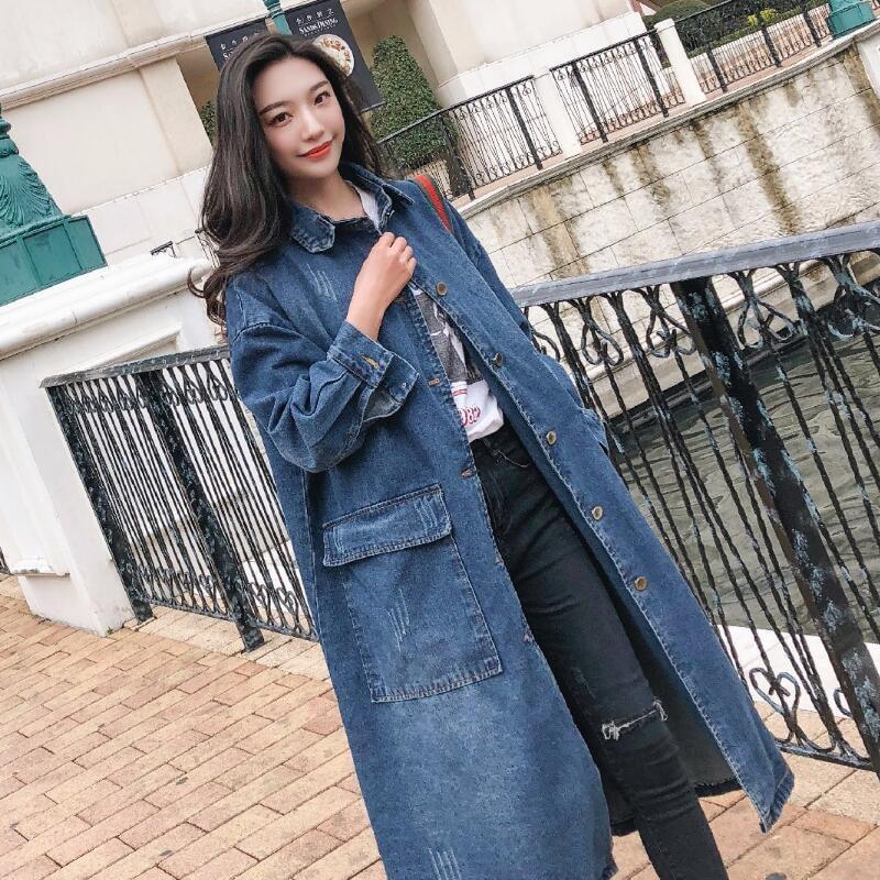 2018 frühling Herbst Neue frauen Casual Denim Graben Mantel oversize Einreiher Retro Gewaschen Cowboy Outwear Lose Kleidung A68