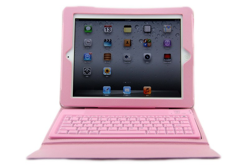 Fashion Wireless Bluetooth 3.0 Keyboard Silicone+PU Flip Leather Case For iPad 2 3 4 with Stand Function high quality free ship