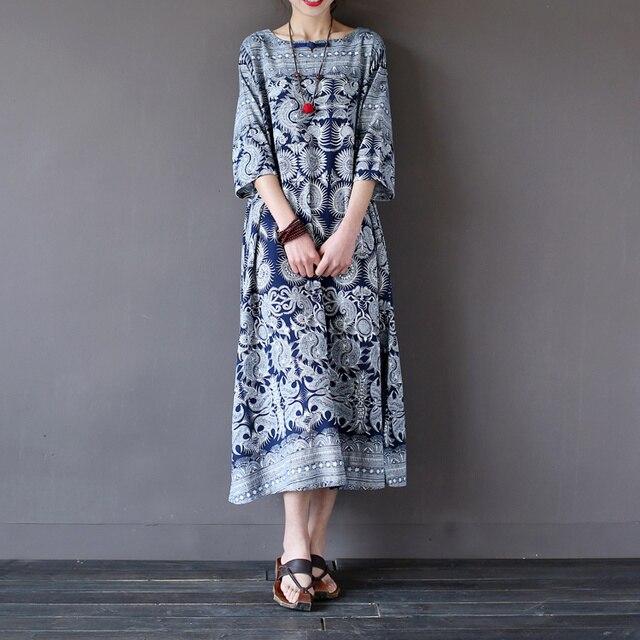 ef50cca778d Women Summer Autumn Retro Cotton Linen Handmade Button Loose Dress Round  neck Half Sleeve Pattern Mid Calf Length Robe Dress