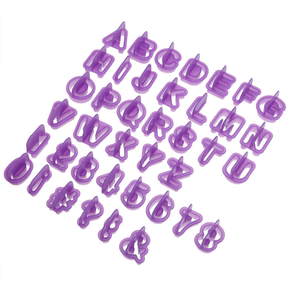 40pcs Alphabet Number Character Letter Cookie Cutter Fondant Cake Biscuit Baking Mould DIY Cake Decorating Tools with Handle