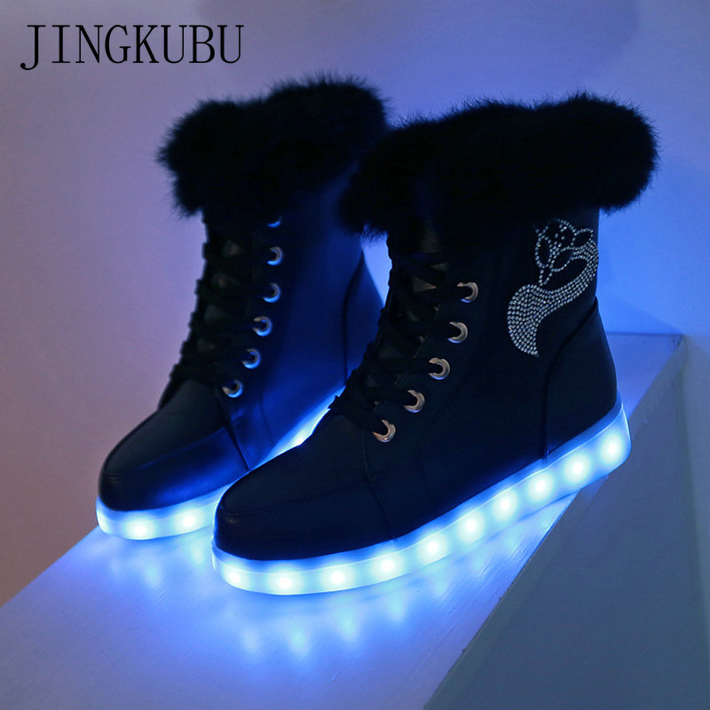 JINGKUBU Luminous Women Sneakers Women Snow boots Fur Winter LED Light Ankle Boots High Top USB Charge Casual Shoes Woman Size41 women led light shoes casual shoes led luminous boots unisex genuine leather ankle boots women usb charging martin boots 35 46