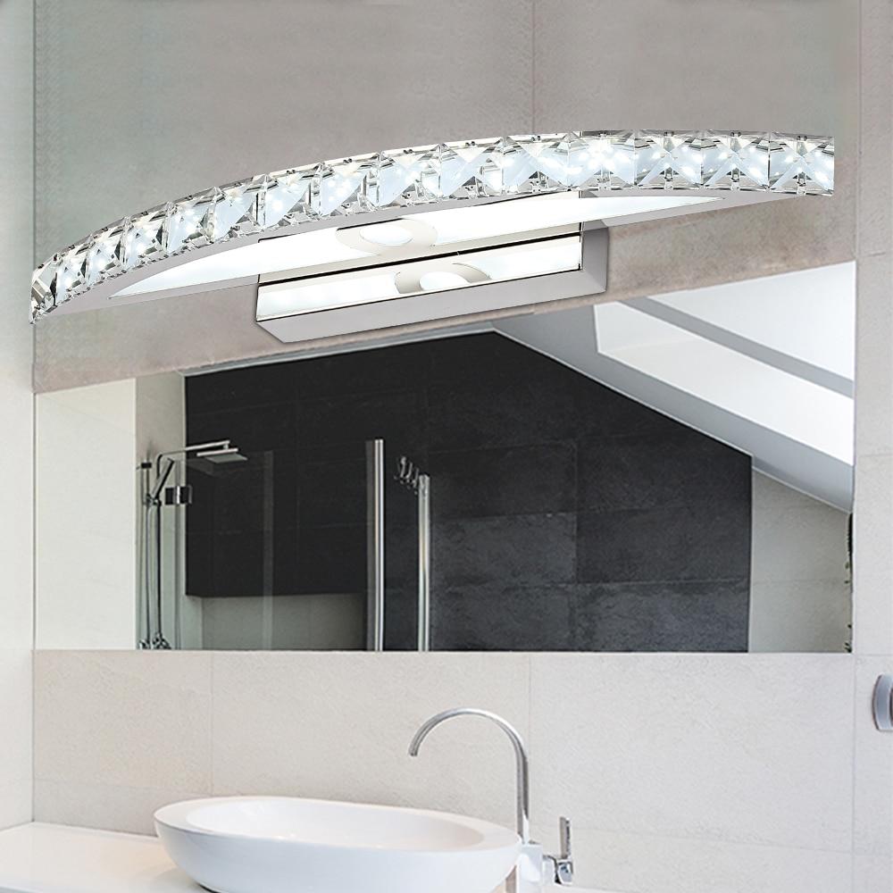 Jusheng современные 15 Вт LED Освещение в ванную топ зеркало Освещение 100-240 В нержавеющей Crystal Moon Форма бра Крытый 54 см длинные