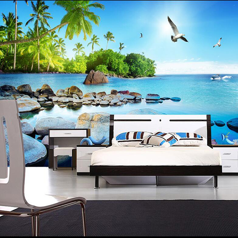 aesthetic landscape bedroom background island living wall tv paper seascape 3d mural
