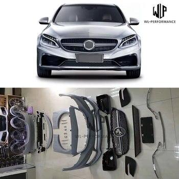 W205 Car Body Kit PU Unpainted Front Bumper Rear Bumper For Mercedes Benz W205 C200 C300 Carlsson Body Kit 14-16