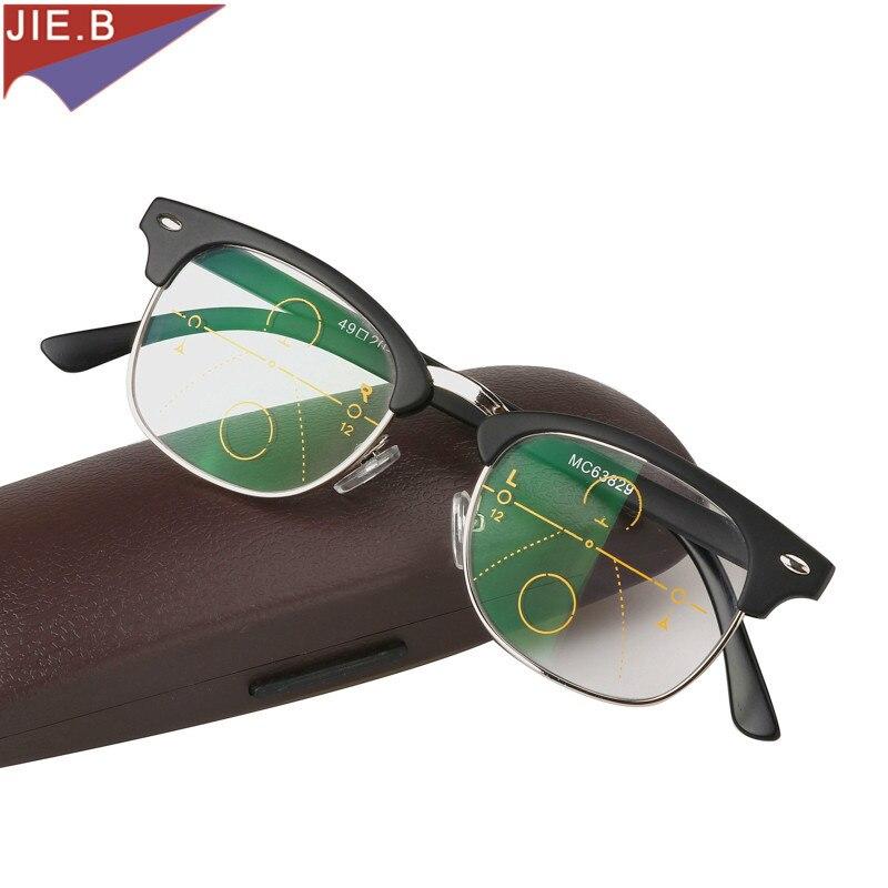 2018 fashion vintage  Zoom Asymptotically Multi-focal Men  Progressive Reading Glasses High Quality Presbyopia Hyperopia Bifocal