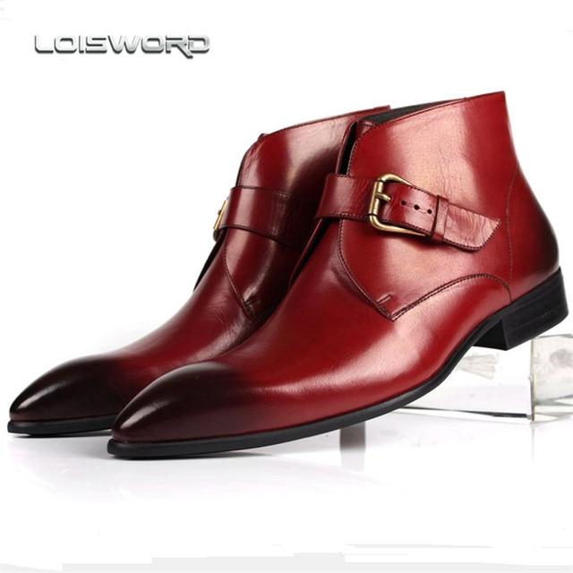De nouvelles chaussures d'hiver véritables hommes en cuir bout pointu Boucle robe rouge Bottes Hommes Taille de mariage et Parti L0OvQ2