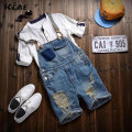Free shipping Male Denim Jumpsuit Short Blue Denim Overalls Men Distressed Ripped Shorts Suspender jean shorts Bermuda Masculina