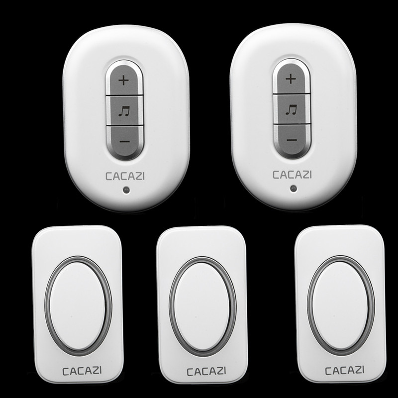 ФОТО 3 transmitters+2 receivers wireless doorbell waterproof button elderly pager plug-in AC 110-220V 280M remote control doorbell