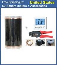 220 Вт AC220V напольного отопления Плёнки 50m2 (0.5 м x 100 м) С Интимные аксессуары бесплатная доставка для дома/хан парная/pet/Теплицы