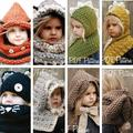 Kids Winter Cat Rabbit Dinasour Fox Knitted Hat With Neck Warmer Baby Girls Boys Children Hooded Beanie Hats  photography props