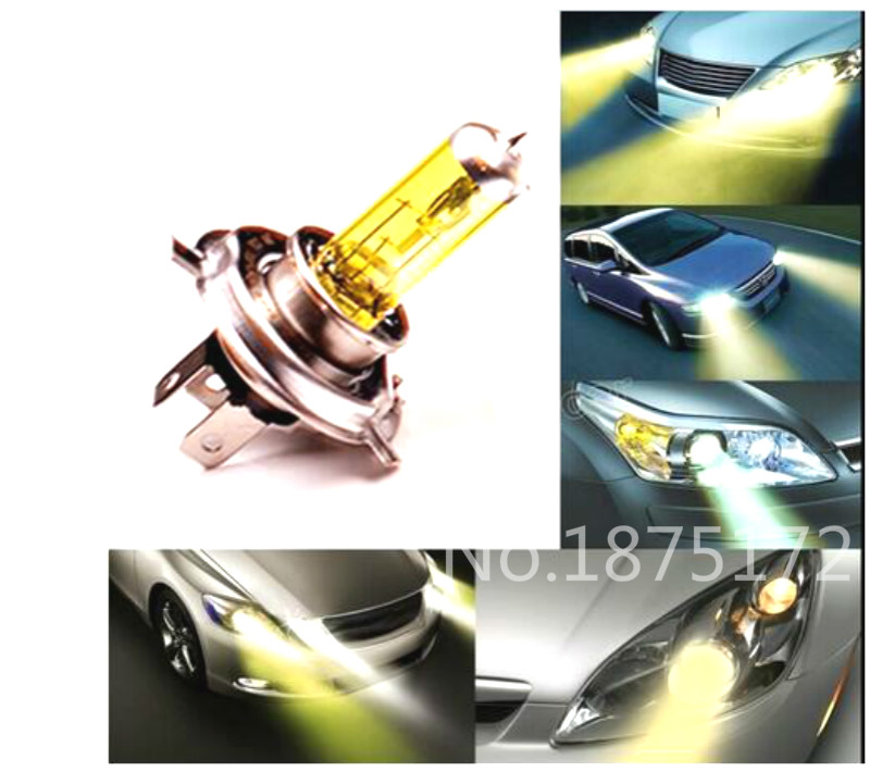 2Pcs H4 12V 60W 55W 3000K Yellow Car Headlight Bulb Fog Lamp Bulb Super Yellow Auto Head Light Bulbs Automobiles Light Source