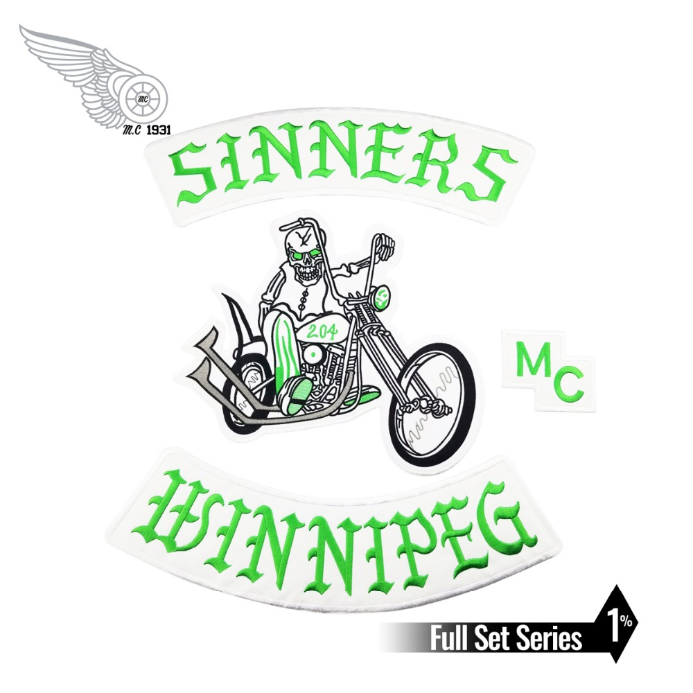 NEW ARRIVAL <font><b>MC</b></font> SINNERS EMBROIDERY <font><b>PATCH</b></font> OUTLAW BIKER <font><b>MC</b></font> IRON ON JACKET image
