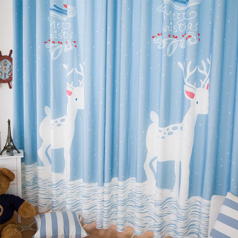 cortinas para crianas frete grtis coreano azul elk cervos dos desenhos animados crianas quarto cortina