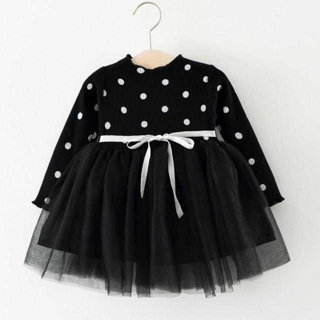 סתיו חורף דוט לסרוג שמלה עבור בנות בסוודרים תינוקת בגדי עבור מסיבת יום הולדת ילדים bebe חג המולד תלבושות תינוק שמלות