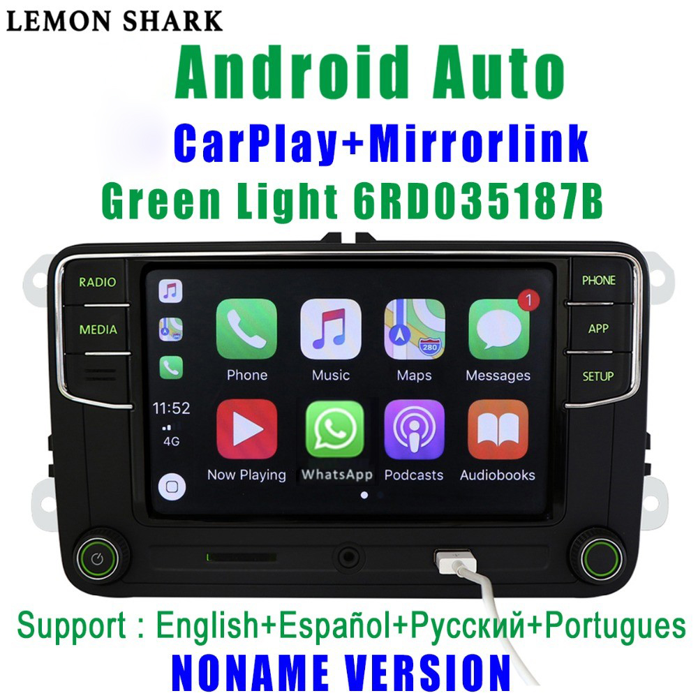 RCD330G Carplay <font><b>RCD330</b></font> Plus Green Light MIB Car Radio 6RD 035 187B <font><b>Noname</b></font> Android Auto For VW Skoda Octavia Fabia Superb Yeti image