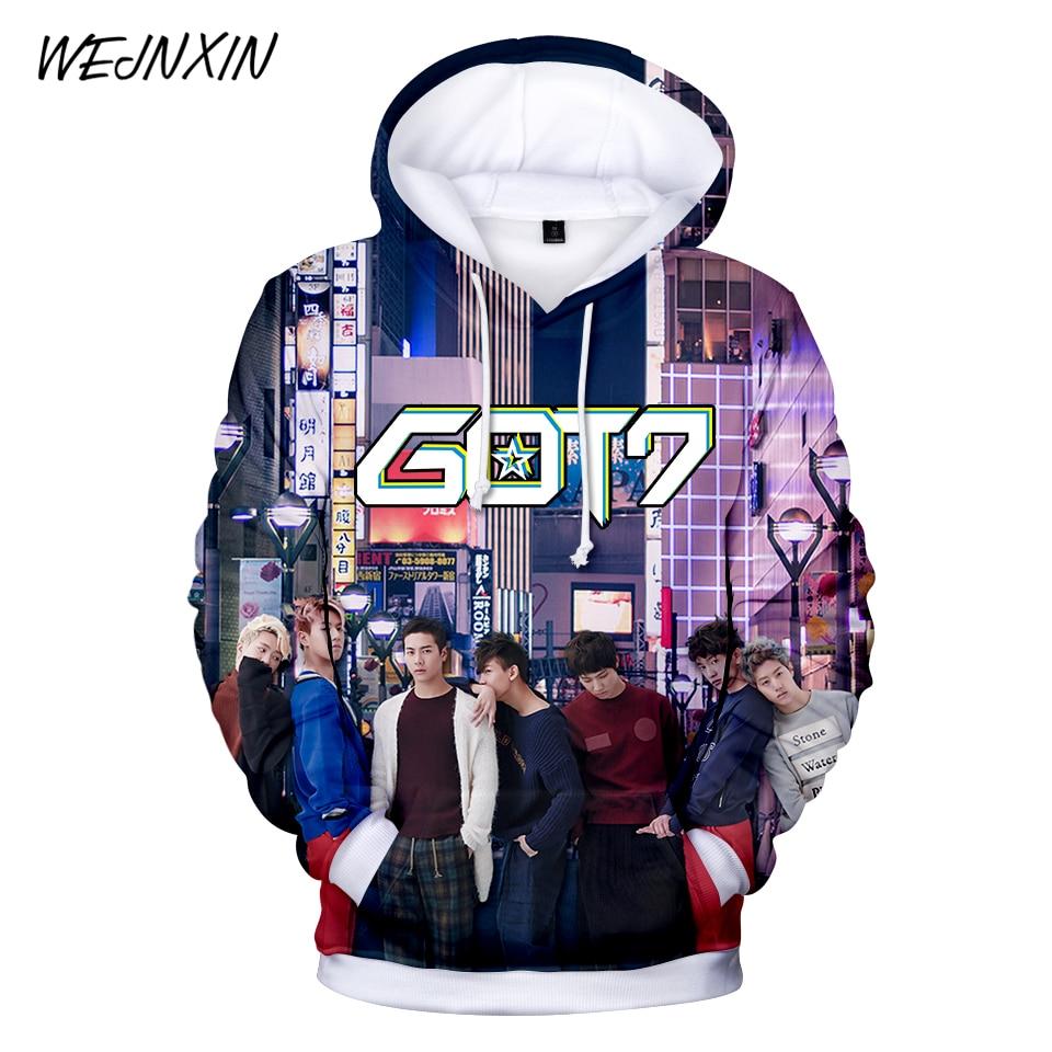 WEJNXIN Fashion Got7 Kpop 3D Hoodies Women Men Couple's Pullover Sweatshirt Cute Harajuku Hip Hop Got 7 Tracksuit Moletom