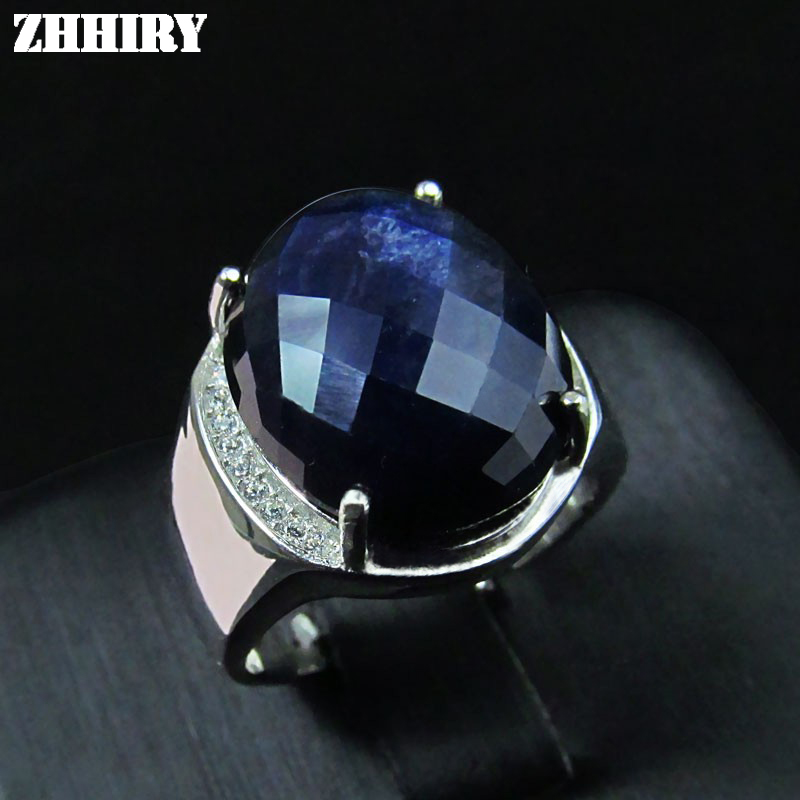 Men ring Natural sapphire Genuine solid 925 sterling silver precious gem stone man rings black blue