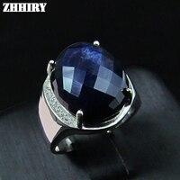 Для мужчин кольцо натуральный сапфир Подлинная Твердые стерлингового серебра 925 драгоценный камень человек кольца Цвет: черный, синий