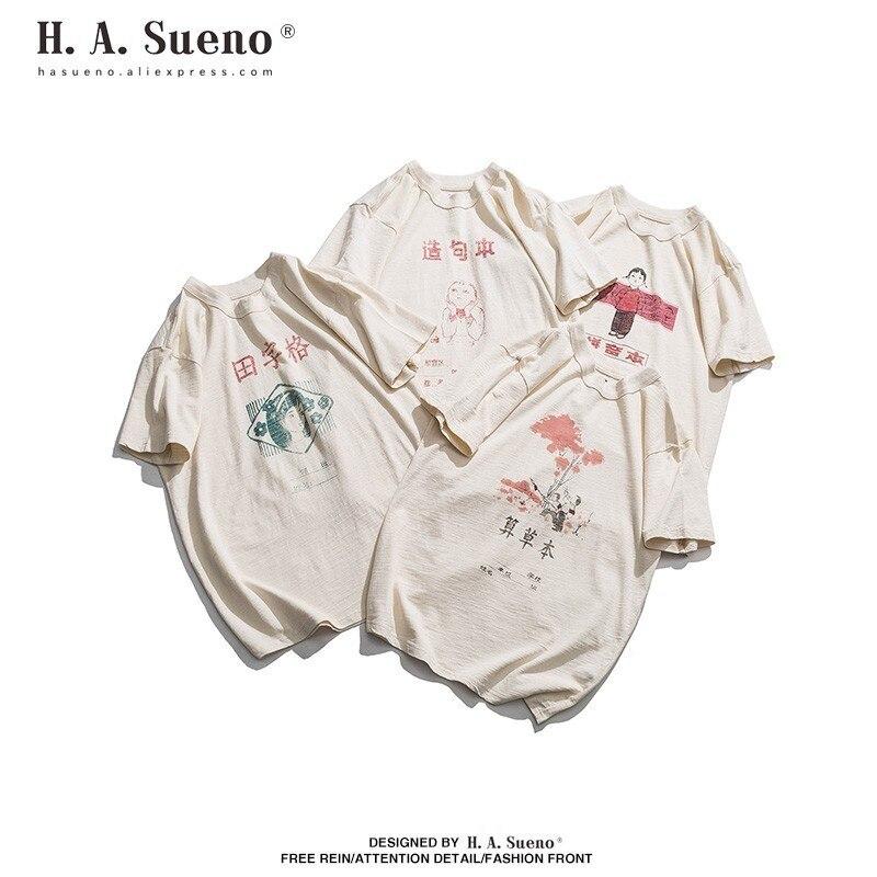 H. A. Sueno 2019 nouveaux arrivants été coton t-shirts pour hommes t-shirts drôles pour hommes Style chinois vêtements masculins livraison directe/5