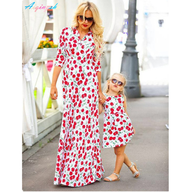 0da10b015 Mommy Kids Girls Mother Daughter Dresses Long Sleeve Cherry Fruit Printing  Bohemian Style Family Mom Baby Maxi Dress Outfits