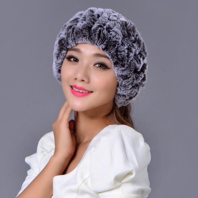 Mujer de Pelo de Conejo Cuello de Piel Conjunto skullies gorros Sombreros Gorros de invierno 2016 para mujer de Aire Superior Pullover Marea Engrosamiento Mantenga sombrero Caliente