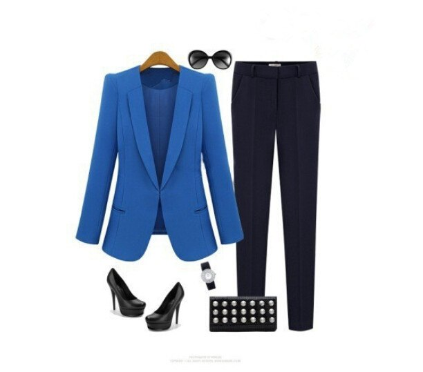 Women Plus Size XL 2XL 3XL 4XL Womens Fashion Casual Coat Woman Suits Blaser Feminino 2019 Black Blue Hidden Breasted