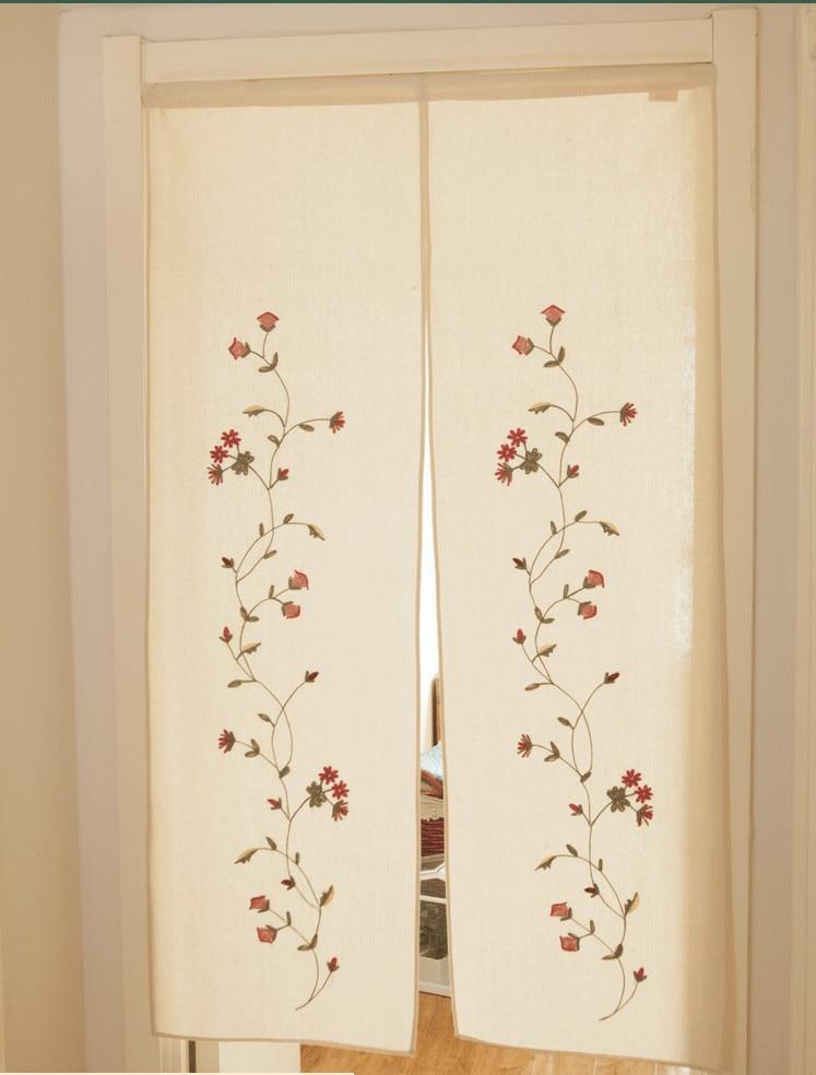 Japonski slog čudovite cvetne odtise zavesa za vrata, ročno vezena - Domači tekstil