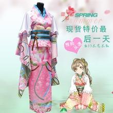 Anime Love Live Minami Kotori Cosplay Cos Fiesta de Halloween Completo 2en1 (Kimono + faja)