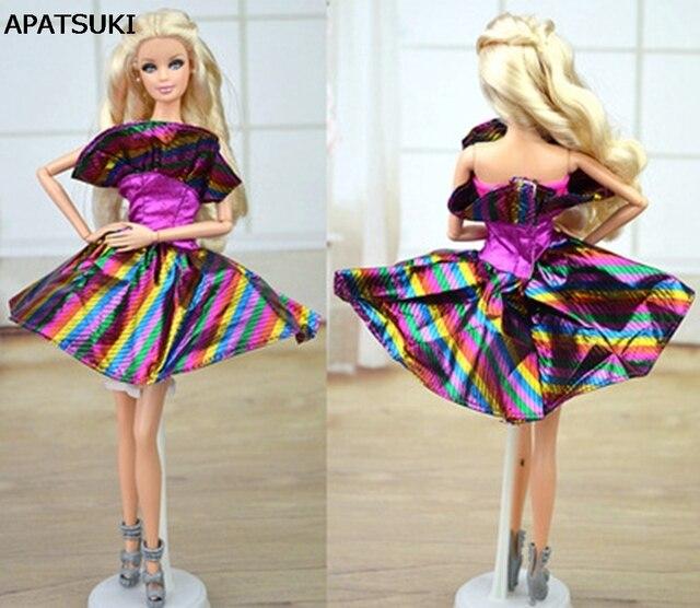 d0be1343c9e7d Accessori bambola Viola Arcobaleno Vestito Dai Vestiti Per La Casa di  Bambola Barbie Dress Abito Del