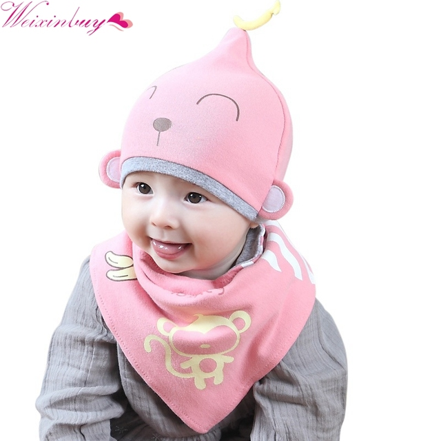 f566678b74ff 2017 2Pcs Set Toddler Child Baby Boys Girls Sleep Hat Cap+Saliva ...