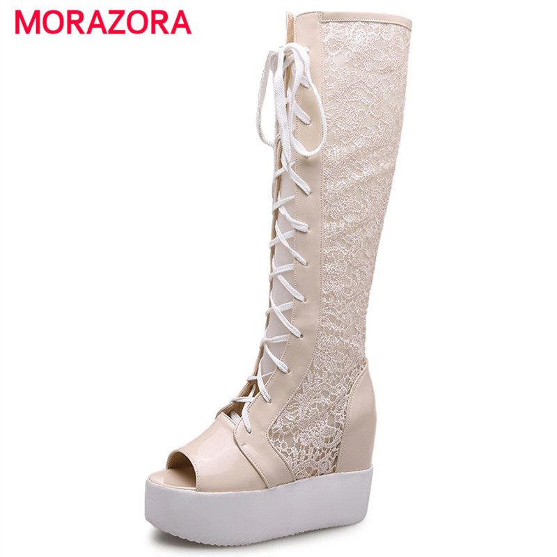 MORAZORA Summer boots knee high long shoes woman lace-up height incrasing cool boots peep toe PU +lace fashion size 34-43