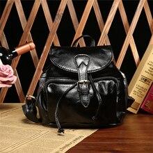 Черная сумка Женская Симпатичные Рюкзак Кошелек винтажная натуральная кожа гриб клапаном Глянцевая Мягкий рюкзак школьный w/Drawstring ремни