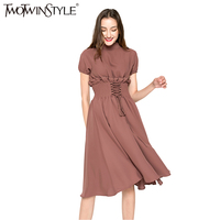 TWOTWINSTYLE Sexy Chiffon Midi Long Summer Dress Women Lace Up Evening Party Dresses Female Short Sleeve
