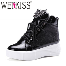 WETKISS Big Size 34-43 Patchwork Lace Up Platform Snow Boots Punk Style Leisure Cozy Shoes Woman Metal Charm Fall Winter Boots