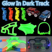New Glowing car racing Track Glow in dark font b toys b font 400 Tracks Bridge