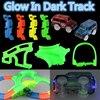 New Glowing Car Racing Track Glow In Dark Toys 400 Tracks Bridge Car Set Bend Flex