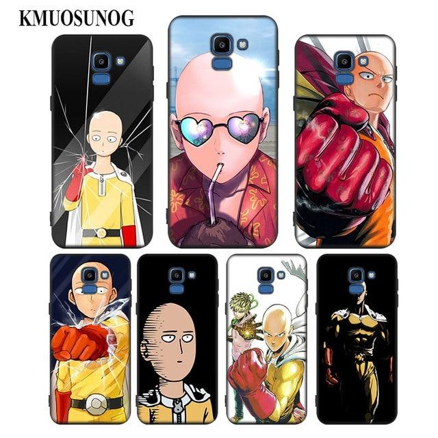 For Samsung Galaxy j8 j7 j6 j5 j4 j3 Plus Prime 2018 2017 2016 Black  Silicone Phone Case Anime Bleach One Punch Man Style