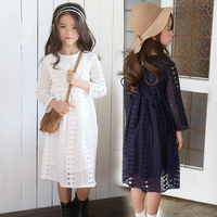 Lace Hollow Out Little Big Girls Autumn Spring 2017 Dress Maxi Long White Blue Kids Children
