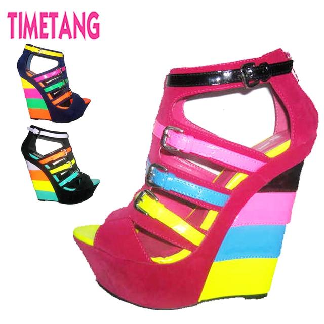 33a7c9b69ba Hot New Design Unique Candy Color Match Velvet Rome Buckle Strap Women  Wedge Sandals Platform High Heel Gladiator Lady Shoes