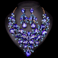 Fashion Jewellery Dubai Crystal Necklace Earrings Bridal Jewelry Sets For Brides Party Wedding Accessories Decoration LC00769