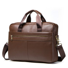Luxury Genuine Leather Laptop Bag Handbags Cowhide Men Crossbody Mens Brown Briefcase