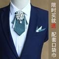 New Free Shipping FASHION male MEN'S multilayer diamond collar Korean wedding groom groomsman tie with Pocket Square ON sale