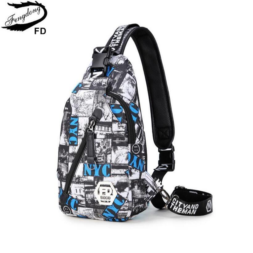 FengDong mens chest bag small crossbody bags for women sling bag one shoulder geometric pattern bagpack men travel bags backbag
