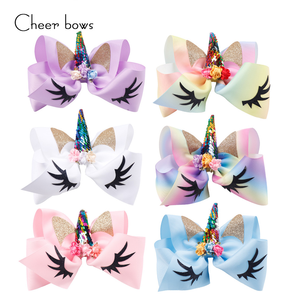 7'' Sequin Kids Horse Horn Hair Bows Glitter Ears With Flower Rainbow Hair Clips For Girls Party Decoration Hair Accessories