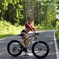 Mountain Bike 26x4 0 Inch 21 Speed Fat Bike Road Bike Camouflage Bicycle Front And Rear