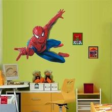 Vivid 3d Spiderman Wall Sticker For Kids Room Home Decoration Cartoon Pattern Wall Art Boys Bedroom Decals Super Hero Poster
